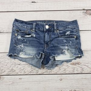 American eagle cut off shortie shorts size 4 blue